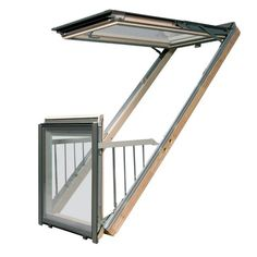 Fakro Roof Window Balcony in White Polyurethane Coated Pine Safety Triple Glazing [FGH-V/U Balcony Window, Roof Window, Open Window, A Frame Cabin, A Frame House, Attic Bedroom Designs, Fibreglass Roof, Roofing Felt, Tropical Design