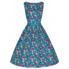 'Audrey' Classy Vintage 1950's Turquoise Floral Rockabilly Pinup Swing Dress