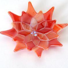Warm Red Swirls Flower Dish fused glass 5 diameter by Artdefleur