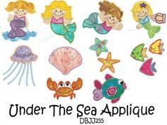 Under the Sea Applique Machine Embroidery Designs | Designs by JuJu