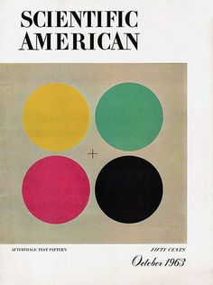"""Scientific American Afterimage Test Pattern – October 1963 """"A test pattern to demonstrate visual afterimages"""". Cover design by Joan Starwood / Art director, James Grunbaum Vintage Graphic Design, Graphic Design Illustration, Graphic Prints, Poster Prints, Gig Poster, Graphic Art, Cover Design, Design Art, Scientific Journal"""