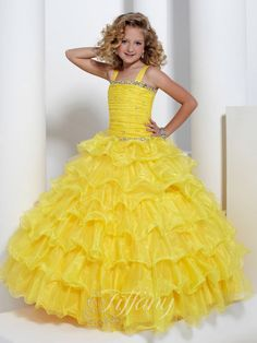 Wedding Dresses, Bridesmaid Dresses, Prom Dresses and Bridal Dresses Tiffany Princess Dresses - Style 13311 - Tiffany Princess Dresses, Fall Organza and tulle thick strap ball gown with full layered skirt.Discontinued Shown In: Sunflower Pagent Dresses For Kids, Cheap Pageant Dresses, Little Girl Pageant Dresses, Wedding Dresses For Kids, Gowns For Girls, Pageant Gowns, Ball Gown Dresses, Girls Dresses, Flower Girl Dresses
