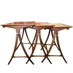 Danish Wood Nest Tables, 1960s | From a unique collection of antique and modern nesting tables and stacking tables at https://www.1stdibs.com/furniture/tables/nesting-tables-stacking-tables/