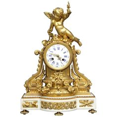 French Louis XVI Figural Clock in Chased and Gilt Bronze | From a unique collection of antique and modern clocks at https://www.1stdibs.com/furniture/decorative-objects/clocks/