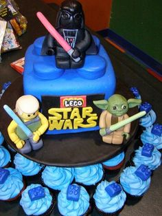 Lego Star Wars Cake by CakeHappyNW.com.  Everything made from scratch, including the Luke, Yoda and Darth Vader!