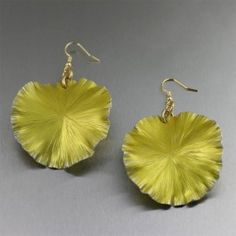 Yellow Anodized Aluminum Lily Pad Earrings - Large