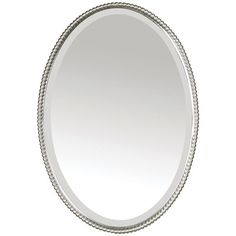 Sherise Oval Beveled Wall Mirror ($420) ❤ liked on Polyvore featuring home, home decor, mirrors, brushed nickel, oval mirror, wall mounted mirror, oval wall mirror, wall mirrors and beveled wall mirror