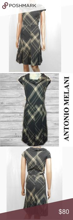 🦉Antonio Melani Cowl Neck Plaid Dress🦉 Beautiful wool blend dress with kick pleats. In a plaid. Back zipping. Cowl neck. 3 belt loops one belt loop need to be retacked. Belt not included belt is not needed. 40 1/2 inches flat ANTONIO MELANI Dresses Midi