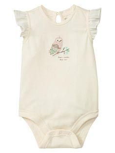Baby hoot owl! Gap | Embroidered flutter-sleeve bodysuit