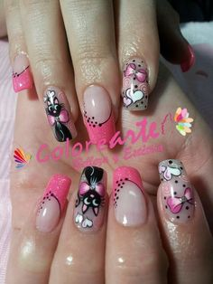 Uñas … in 2019 Fancy Nails, Love Nails, Pink Nails, Cat Nail Art, Cat Nails, French Nail Art, Girls Nails, Beautiful Nail Designs, Mo S