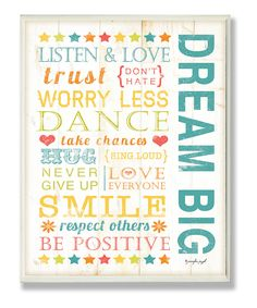 'Dream Big' Kids Wall Art #typography #zulily #quotes #wordsofwisdom