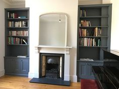 white chimney breast, with two dark painted alcoves fitted with shelving units Alcove Storage, Alcove Shelving, Dining Room Storage, Shelving Units, Living Room With Fireplace, New Living Room, Living Room Decor, Alcove Ideas Living Room, Living Room Designs