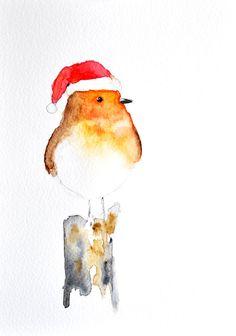 Christmas Robin 2 - ORIGINAL Watercolor bird painting/ Christmas decoration 6x8 inch