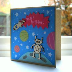 alien, rocket, space - birthday card for kids