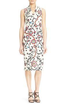 Alice + Olivia 'Jacki' Embroidered V-Neck Sheath Dress available at #Nordstrom