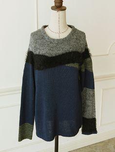 【Quatre-coulers mix knit】レディース ニット 異素材