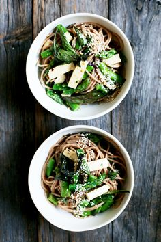 A delicious, easy noodle salad recipe with miso orange sesame dressing, basil, asparagus and tofu. Pretty perfect for a picnic.