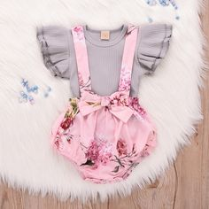 Toddler Baby Girls Ruffle Sleeve Plain T-Shirt Tops Floral Strap Skirt Dress 2Pcs Outfit Clothes