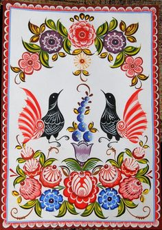 Folk Gorodets painting from Russia. A floral pattern with two hens. Russian Love, Russian Folk Art, Russian Style, Pattern Art, Art Patterns, Naive Art, Pyrography, Handicraft, Decorative Paintings