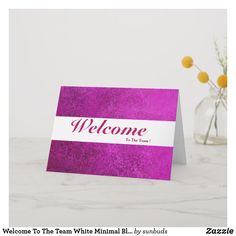 Shop Welcome To The Team White Minimal Blue Badge Card created by sunbuds. Welcome To The Team, Welcome Card, Calligraphy Welcome, Rustic White, Custom Greeting Cards, Thoughtful Gifts, Smudging, Paper Texture, Minimalism