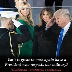 Trump Salutes Marine - I love the great respect our President has for military! Trump Is My President, Vice President, First Lady Melania Trump, Trump Pence, American Pride, American History, American Freedom, God Bless America, Us Presidents