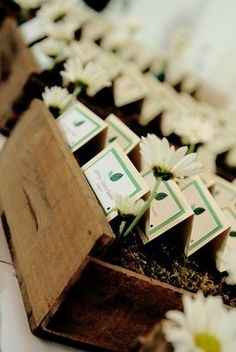 Rustic display for escort cards using wooden crates.