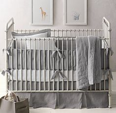 Washed Organic Linen Nursery Bedding Collection | RH Baby & Child