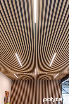 Steccawood Battens in Natural Oak Ravine. Wood Slat Ceiling, Wood Slat Wall, Wooden Ceilings, Wood Slats, Ceiling Design Living Room, Ceiling Light Design, False Ceiling Design, Living Room Designs, Office Ceiling
