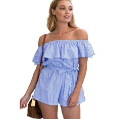 40f98817db74 Sexy Off the Shoulder Short Pants Jumpsuit Ruffles Blue Striped Rompers  Beach Casual Overalls Bodysuit Sashes 2018 Summer Women