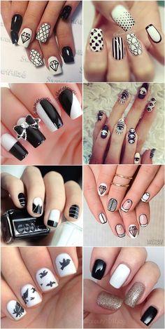 Black and white nail art desgins and ideas. black and white nail art desgin Frensh Nails, Hair And Nails, Black And White Nail Art, White Nails, Black White, White Art, White Nail Designs, Nail Art Designs, Nails Design