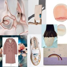 thisisgretchenjones: Vibed out another mood board while in my perpetual pursuit for creative directions! @AcneStudios coat & shoes, J-W v E. floral picture, @buildingblock bag, #HelenaSeverin for GRIT Mag by #NicoleMariaWinkler, #SimonEvans Rainbow Painting, Texture Rose Marbré & some lovely watercolor circles… Because- #fridazed
