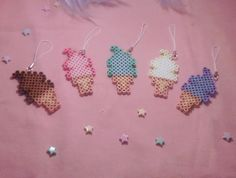 Ice Cream Phone Charm perler beads by Weeabootique
