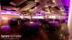 green and purple themed wedding, modern purple reception area.