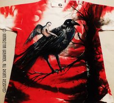 """"""" Nymphe - Queen Of Ravens """" HAND PAINTED CUSTOM T-SHIRT © Katarzyna Urbanek,All rights reserved"""