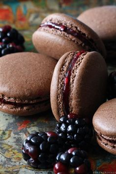 Chocolate Blackberry Macarons from Bakers Royale @Sara Eriksson Eriksson Eriksson Eriksson Baker Royale | Naomi  I think these look like chocolate hamburgers.