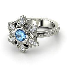 Snowflake Ring Round Blue Topaz 14K White Gold Ring with Diamond