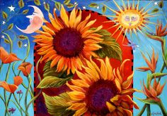 Sunflower Sun Moon Giclee Print beveled double matte by LynnFogel, $18.00