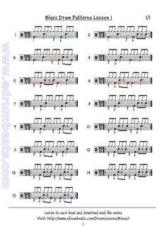 First blues drumbeat lesson. Easy patterns. Play this as written or with a hi-hat shuffle.