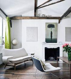 neutral room/green curtains