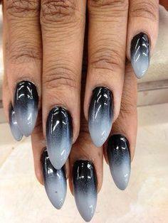 Grey black gothic nails