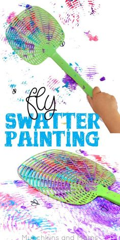 Fly swatter painting- what a blast! Preschoolers would love this process art activity! Art Activities For Preschoolers, Summer Crafts For Preschoolers, Painting Activities, Preschool Camping Crafts, Outdoor Activities For Preschoolers, Colour Activities For Toddlers, Pre School Crafts, Preschool Camping Activities, Young Toddler Activities
