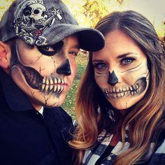 Couples half skull Halloween makeup