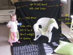All that's needed is a sheet (I use a black twin size flat sheet, about $3 from Walmart), 2 chairs, 2 clips, good natural light, and a delightful subject. Simply fold a few inches of sheet ov…