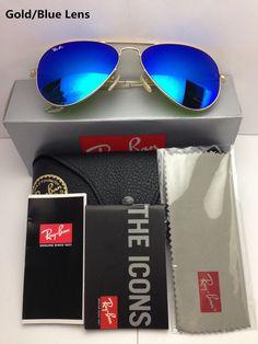 f69f00a786 Ray-Ban Sunglasses Aviator RB3025 112/68 Gold Frame Blue Mirror 58mm  #fashion