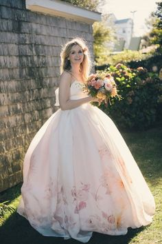 peach floral wedding dress