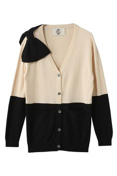 Kaon  ショルダーリボンバイカラーカーディガン Sweaters, Jackets, Style, Fashion, Down Jackets, Swag, Moda, Fashion Styles, Sweater