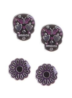 Dark Flowers Skull Earrings Set at PLASTICLAND