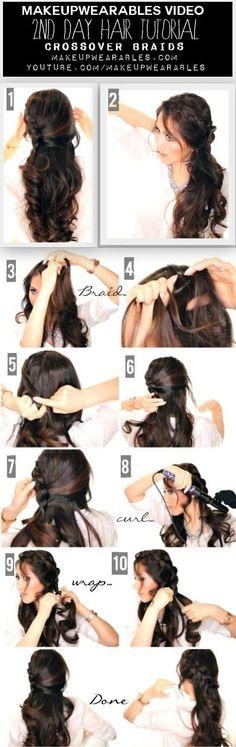 Cute Braided Half-Updo Tutorial Video   Curly Long Hairstyles