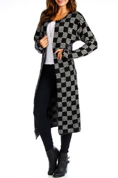 Checkered Eyelash Open Front Cardigan in Black