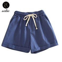 Short Sport Femme Cacheteros De Mujer Wide Korean High Waisted Shorts  Pockets Stretch Elastic Waist Linen b6cb870ff47